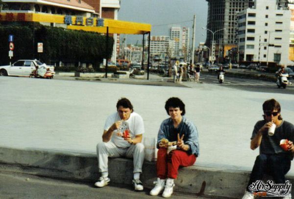 Tour Manager Bernie Boyle (left) with Russell 1988 tour.jpg